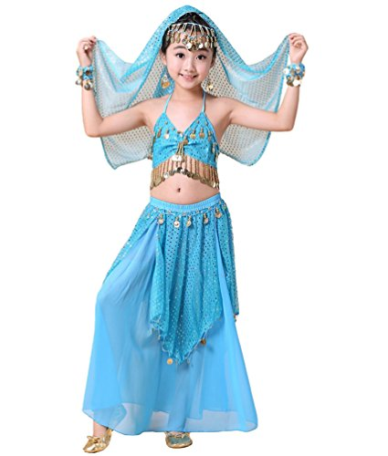 Anguang Kinder Mädchen Maxirock Camisole Top Pailletten Bauchtanz Kostüm Blauer See#3