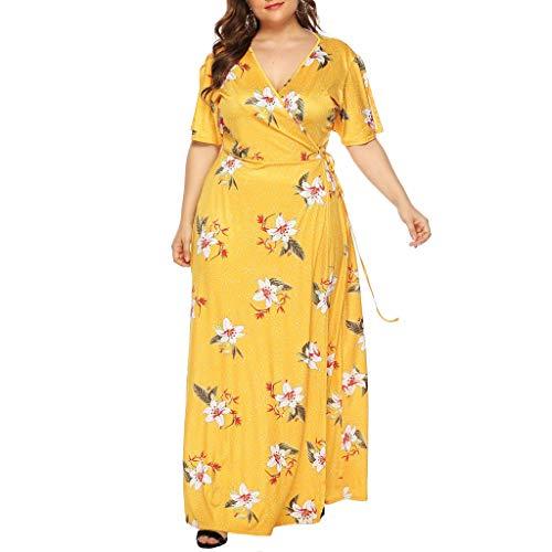 iYmitz Damen Übergröße Maxikleid Elegant V-Ausschnitt Kurzarm Kleider mit Blumen Pailletten Abend Party Netzkleid(X4-Gelb,EU-46/CN-XL)