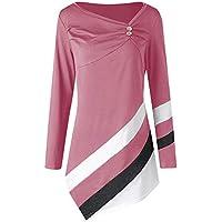 Yvelands Mujer Otoño Invierno Rayas Túnica Asymmtrical Tops Tallas Grandes Blusa Camisetas Tops Blusa