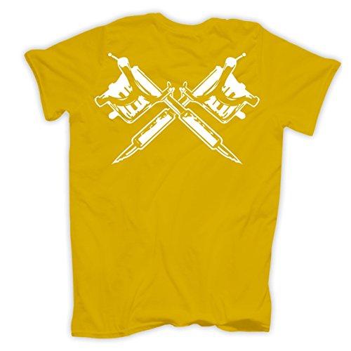 Männer und Herren T-Shirt Andere gehen zur Therapie ICH GEH ZUM TÄTOWIEREN (mit Rückendruck) Gelb
