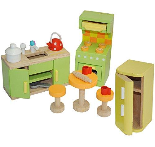 """12 tlg. Set - """" Küche mit Kühlschrank + Herd + Spüle """" - aus Holz - z.B. für Biegepuppen Schrank Möbel - Puppenstubenmöbel für Puppenstube / Puppenhaus - Puppenmöbel - Puppenküche - Holzmöbel - Budkin"""