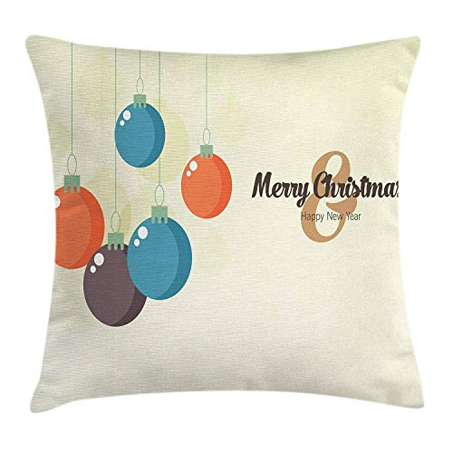 FPDecor Vintage Modern Kissenbezug, Colorful Festive Ornaments Baubles Merry Christmas and Happy New Year Design, Decorative Square Accent Pillow Case, 18 X 18 inches, Multicolor