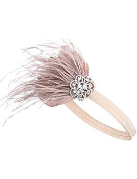 BABEYOND Frauen-Zwanzigerjahre Gatsby-Kopfstück-Feder-Prallplatten-Stirnband-Kristallkopfstück-Strauß-Feder-Stirnband
