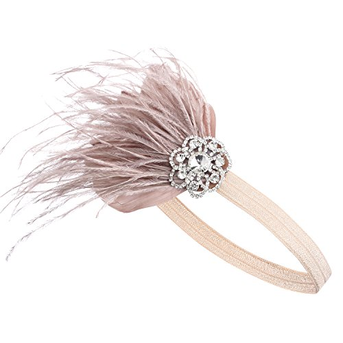 Stirnband 20er Jahre Stil Art Deco Flapper Haarband Great Gatsby Stirnband Damen Kostüm Accessoires (Aprikose mit elastischem Band) (Kostüm The Great Gatsby)