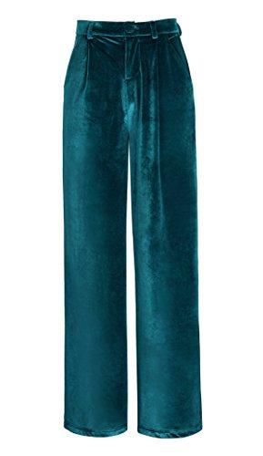 Urban GoCo Mujeres Elegante Pantalones de Terciopelo Modernos Palazzo Anchos Pierna Pantalones (XS,...