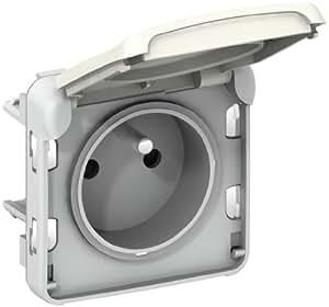 Legrand LEG69951 Prise de courant avec terre avec volet de protection à composer Blanc Plexo