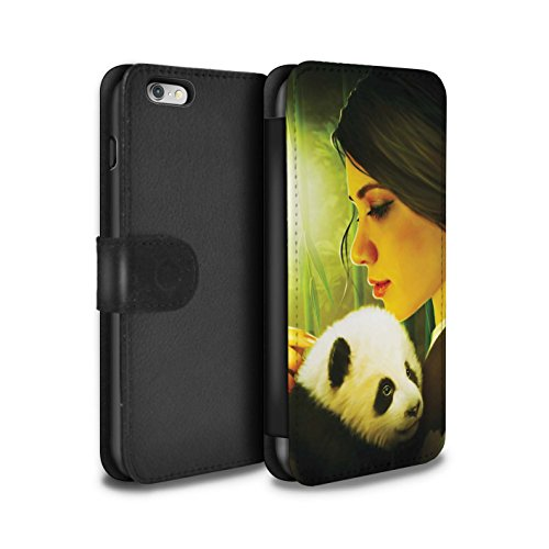 Officiel Elena Dudina Coque/Etui/Housse Cuir PU Case/Cover pour Apple iPhone 6+/Plus 5.5 / Dans mes Bras/Sûr Design / Les Animaux Collection Petit Panda/Bambou