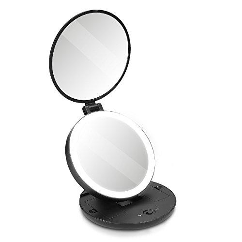 Navaris Espejo de Maquillaje con luz LED - Espejo de Aumento x5 con iluminación - Espejo de Bolsillo...