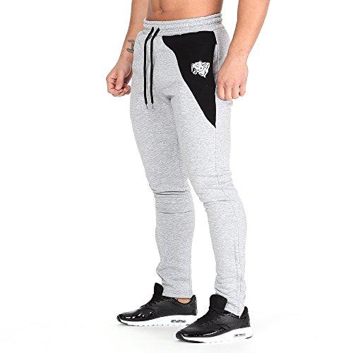 Smilodox Slim Fit Jogginghose, Pantaloni Sportivi Uomo Grigio/Nero