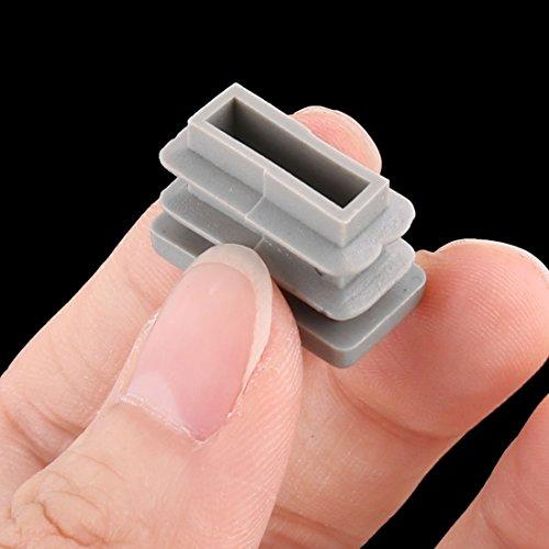 sourcingmap® 9Stk Plastik Rechteck Stuhl Tischbein Fußabdeckung Rohrstopfen Grau 20mm x 10mm