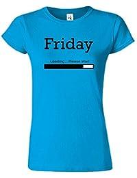 Friday Loading Dames Tshirt femmes Drôle Court Manche Tshirt