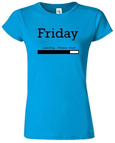 Friday Loading Dames Tshirt femmes Drôle Court Manche Tshirt Saphir / Noir Design