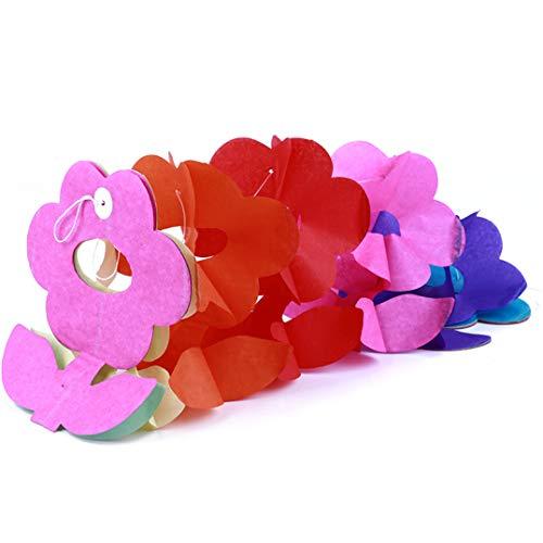 Garispace 3 Mt Bunte Bunting Hängende Verzierung Blume Papier Girlanden Cartoon Muster Ziehen Blume für Party Baby Shower Hochzeitstag(3M bunte Sonnenblume) -