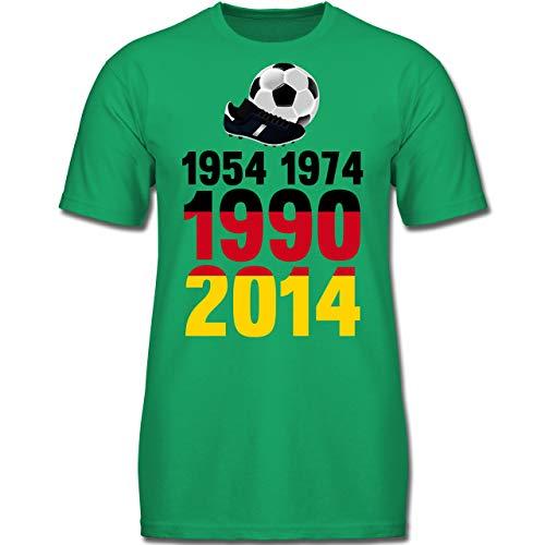 Fußball-Europameisterschaft 2020 Kinder - 1954, 1974, 1990, 2014 - WM 2018 Weltmeister Deutschland - 164 (14/15 Jahre) - Grün - F130K - Kinder Tshirts und T-Shirt für Jungen
