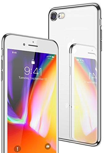 iPhone 8 Hülle, iPhone 7 Hülle, CASEKOO Silikon Dünn Case Transparent Weich Durchsichtig Leicht Cover Ultra Slim TPU Schlank Bumper Handyhülle Soft Kratzfest Schutzhülle für iPhone 8 und iPhone 7[Unterstützt Kabelloses Laden(Qi)]-Silber