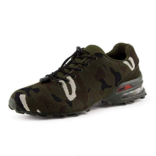 Fusskleidung Herren Sportschuhe Sneaker Runners Strick Textil Laufschuhe Freizeitschuhe Turnschuhe Gym Dämpfung Camouflage Grün EU 41