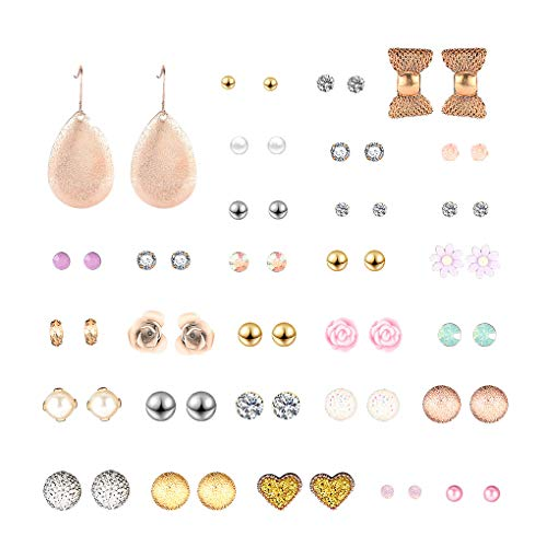 Lorsoul 30 Paar Mehrere Ohrstecker Ohrringe Set Verschiedene Kristall Strass Frauen Piercing Ohrringe