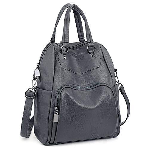 Convertible Schulter Tasche (UTO Damen Rucksack 4 Arten Convertible Rucksack Schulter Pack Umhängetasche Handtasche PU Leder Grau)