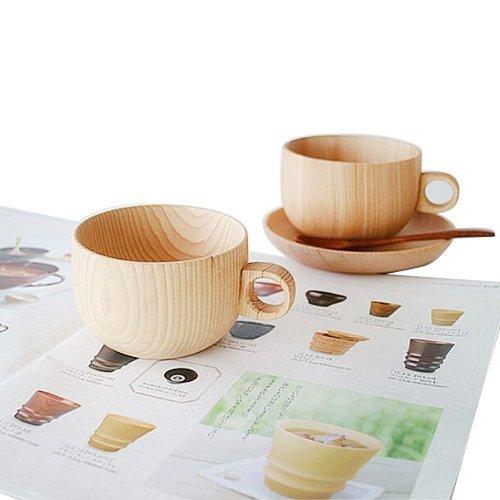 zimo® Tasse De Café en Bois Cup Thé Tasse d'eau Tasses Café (2 Pack)