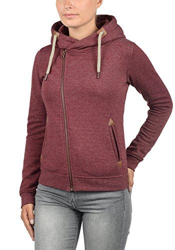 DESIRES Vicky Zip-Hood Damen Sweatjacke Kapuzenjacke Hoodie Mit Kapuze Fleece-Innenseite Und Cross-Over-Kragen, Größe:XS, Farbe:Wine Red Melange (8985) - 2