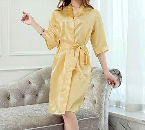 LLU Silk Morgenrock des Sommerkleides Sommerdame einfarbig Nachthemd sexy Silk Bademantel Yukata Frau Pyjamas der dünnen Abschnitt, Yellow