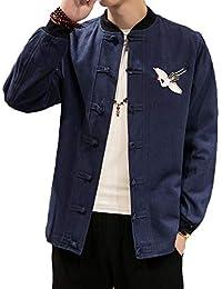 QitunC Uomo Lino Miscela Giacca Retro Cinese Stile Stampare Cappotto Tang  Tuta Marina Militare S 9cf10c2a868