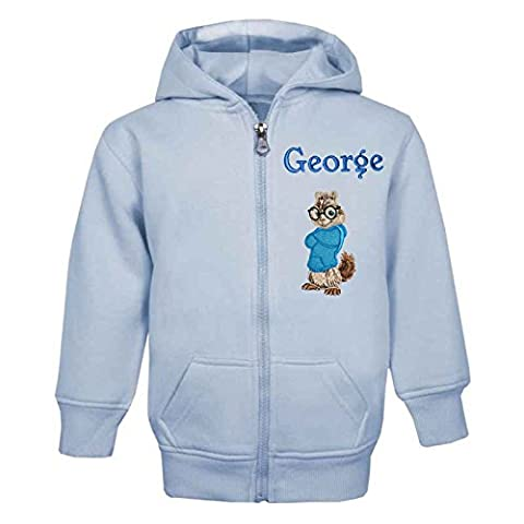 SIMON The Chipmunk Personalised Zip Front Hoodie in Baby Blue