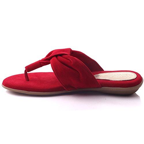 Unze Für Frauen Spence 'lässigen Tanga Slippers - W01485 Rot