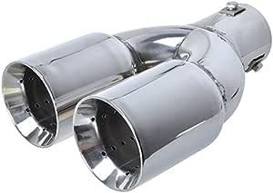 Edelstahl Auspuffblende Doppelrohr Rund 2x 75mm Anschluß 35 55mm Mit Absorber Auto