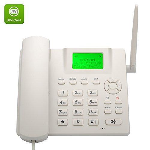 """Teléfono fijo GSM cuatribanda, pantalla de 2,4 """", batería recargable, identificación de llamada, Bis y función manos libres"""