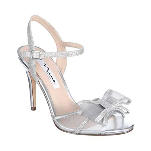Nina Frauen Charm Peep Toe Besonderer Anlass Slingback Sandalen Silber Groesse 10 US /41.5 EU Nina Ankle Strap Heels