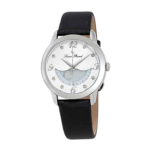 Lucien Piccard Women's 'Bellaluna' Swiss Quartz Stainless Steel and Leather Casual Watch, Color:Black (Model: LP-40034-02-BKSS)