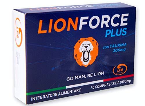LIONFORCE PLUS® | 30 COMPRESSE 1000 Mg CADUNA | MADE IN ITALY | NUOVA FORMULA 100% NATURALE | TAURINA BOOST AD AZIONE EXTRA RAPIDA | GO MAN BE LION
