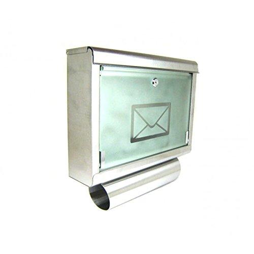 Preisvergleich Produktbild Briefkasten aus Edelstahl mit großem Sichtfenster und Zeitungsrolle Modell 051