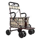 Zhangmin Plegable Viejo Carro De Compras, Aleación De Aluminio Empuje De Cuatro Ruedas Puede Sentarse Conveniente Muletas Andador para Los Ancianos para Comprar Comida Carrito De La Compra,A