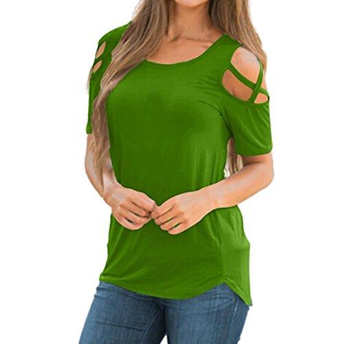 VEMOW Frauen-Dame-Sommer-beiläufige Tägliche Kurze Hülsen-Riemchen-Kalte Schulter-T-Shirt übersteigt Blusen-T-Stücke Pullover (EU-40/CN-S, Grün)
