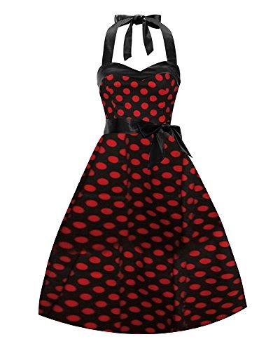 LaoZan Femmes Rockabilly Swing Robe de Cocktail Audrey Hepburn robe de soirée cocktail Robe à pois Avec ceinture Noir Rouge