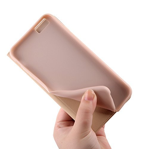Nouske iPhone 6 6S 4.7 Zoll Stand Hülle Etui with Karte Halterung Leder Wallet Klapphülle Flip Book Case TPU Cover Bumper Tasche Ultra Slim, Onyx Schwarz Rose Gold