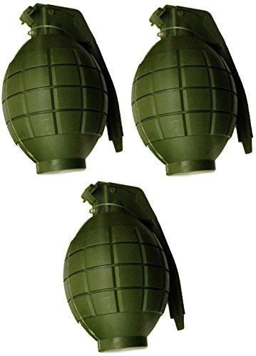 Paquete de 3 niños Ejército de juguete verde granadas de mano - con luz intermitente y sonido - Roleplay