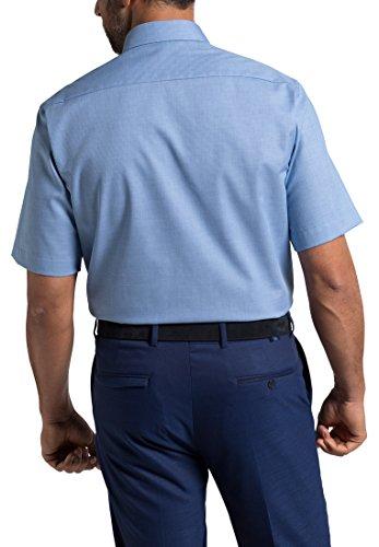 Eterna Chemise á Manches Courtes Comfort Fit Ripsbindung Structuré Bleu
