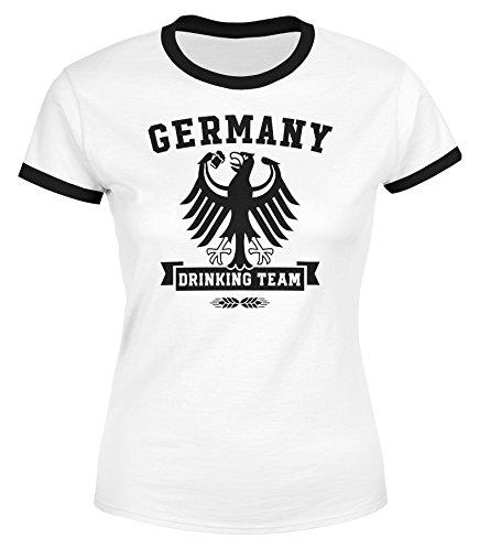 Fieber Schwarzes T-shirt (MoonWorks Lustiges Damen WM-Shirt Fußball Deutschland Germany Drinking Team WM 2018 Weiß-Schwarz S)