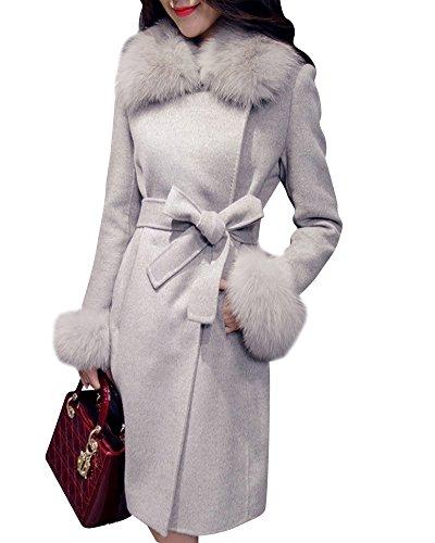 Damen Faux Pelz Kragen Parka Mit Lange Gürtel Herbst Winter Elegant Warme Jacke Trenchcoat Grau L(Bust 94 cm) -