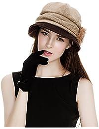SIGGI Wolle 1920s Glockehut Retro Fedorahüte für Damen Klassisch Fischerhüte Winter
