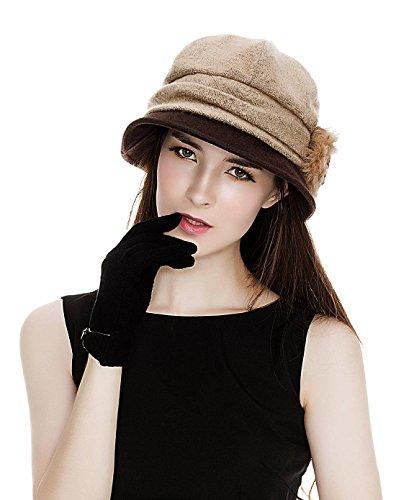 SIGGI Wolle 1920s Glockehut Retro Fedorahüte für Damen Klassisch Fischerhüte Winter kambel
