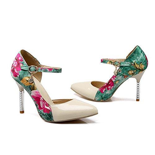 AllhqFashion Femme Pointu Boucle Matière Mélangee Couleurs Mélangées Chaussures Légeres Beige