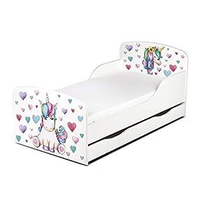Modernes Kinderbett Toddler mit Matratze, Farbe weiß, Maße: 140 x 70 cm, Schlafzimmer für Kinder, Möbel für Kinder, komfortabel, funktionales Bett mit einer Schublade, Einhorn, Pferd, Herzen