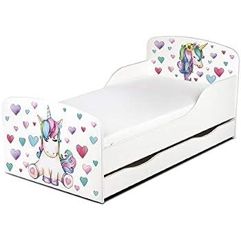 Lettino per bambini da letto per bambini modello ANNA BIANCO dimensione 140x70 con un materasso con un cassetto