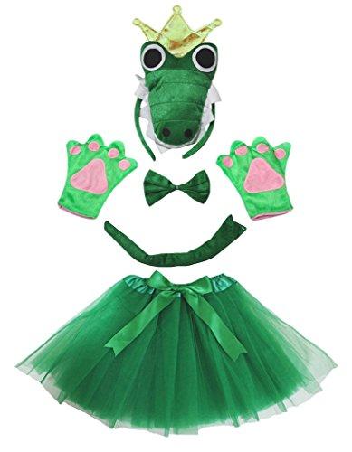 Petitebelle Crocodile König Stirnband Bowtie Glove Rock 5pc Mädchen-Kostüm Einheitsgröße Grün (Crocodile Rock Kostüm)