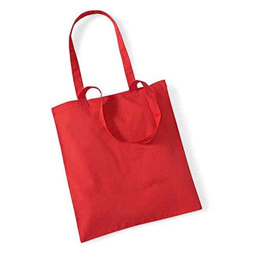 Westford Mill Leben Lange Griffe Shopper Schultertasche Einkaufstasche Baumwolle WM101, baumwolle, hellrot, 38 x - Party Kaufen Großhandel Supplies