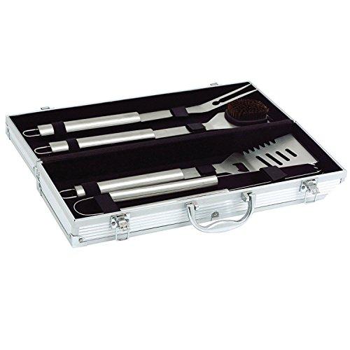 41T6pJnWYfL - Goods & Gadgets Edelstahl Profi Grillbesteck-Set 5-teilig Grill-Koffer BBQ Besteck Zubehör fürs Grillen mit Grillbürste